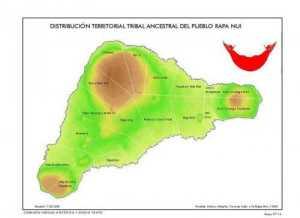 Distribución territorial ancestral del Reino de Te Pito O Te Henua en clanes , Alberto Hotus, 1988.
