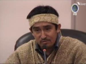 Juan Pichun à l'audience, fils du défunt Longko Pascual Pichun, partie à la demande,  Source : http://www.observatorio.cl/node/9201